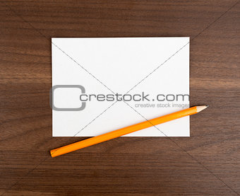 Blank card with pencil