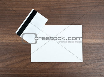 Blank paper with credit card