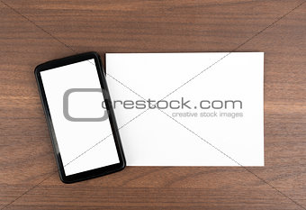 Blank card with smartphone