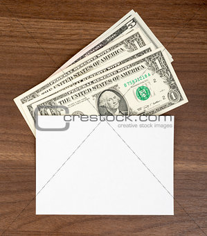 Blank card with cash