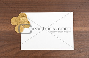 Blank card with golden coins