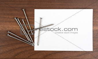 Blank card with nails