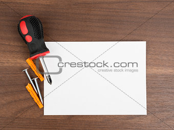 Blank card with screwdriver
