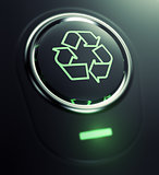 button with recycle symbol