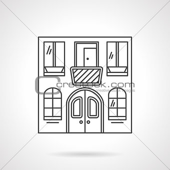 Cafe building flat line vector icon