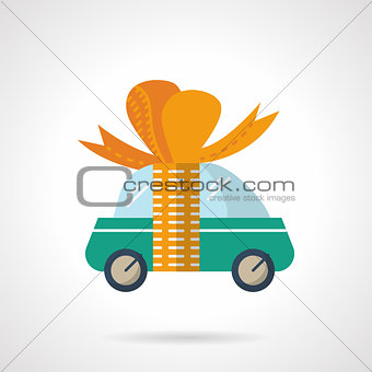 Car gift flat color vector icon