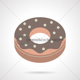 Flat color chocolate donut vector icon