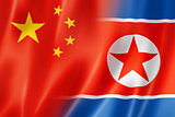 China and north korea flag