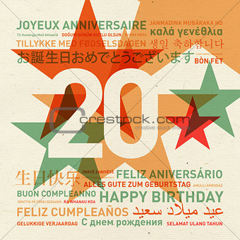 20th anniversary happy birthday card from the world