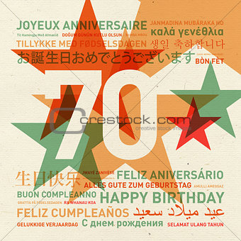 70th anniversary happy birthday card from the world