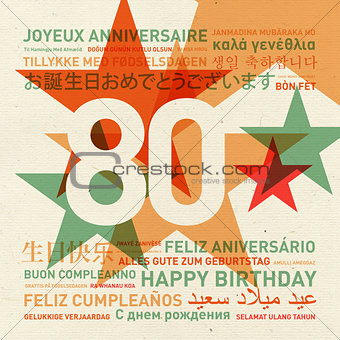 80th anniversary happy birthday card from the world