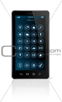 Smartphone with icons interface