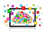 Cloud computing symbol in Digital Tablet pc
