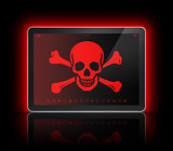 Digital tablet with a pirate symbol on screen. Hacking concept