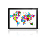 World map made of icons on digital Tablet PC. Cloud computing co