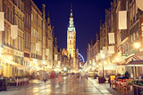 Gdansk Street with Town Hall at Night