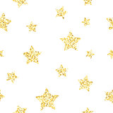 New Year seamless gometric pattern with golden glitter textured stars