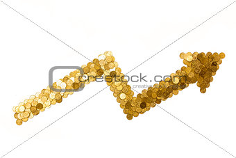 arrow showing profit made of golden coins