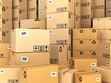 Warehouse or delivery concept. Cardboard boxes background.