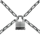 Security concept. Lock and chain. Under protection. 3d