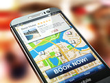 Online accommodation booking concept. Smartphone and system  hot