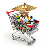 Pharmacy medicine concept. Shopping cart with pills and caduceus