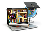 Education concept. Laptop with books, globe, graduation cap and