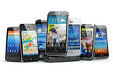 Choose mobile phone. Row of the different smartphones.