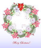 Christmas Wreath with Balls and Pink Poinsettia