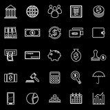 Banking line icons on black background