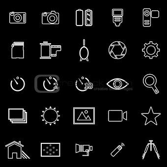 Camera line icons on black background
