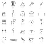 Construction line icons with reflect on white
