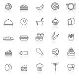 Food line icons with reflect on white