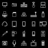 Gadget line icons on black background