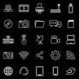 Hi-tech line icons on black background