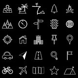 Location line icons on black background