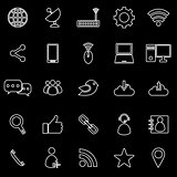 Network line icons on black background