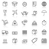 Shipping line icons with reflect on white