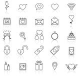 Valentine's day line icons with reflect on white