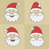 Vector icons Santa Claus emoticon faces