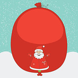 Santa Claus before the gift large sack. Vector christmas postcard