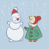 Vector hand drawing snowman and girl