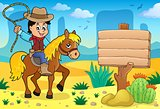Cowboy on horse theme image 4