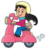 Girl on motor scooter theme image 1
