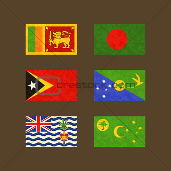 Flags of Sri Lanka, Bangladesh, East Timor, Christmas Island, Cocos Islands and British Indian Ocean Territory