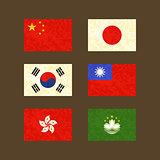 Flags of China, Japan, South Korea, Taiwan, Hong Kong and Macau
