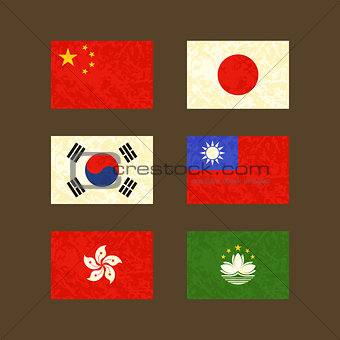 Flags of China, Japan, South Korea, Taiwan, Hong Kong and Macau