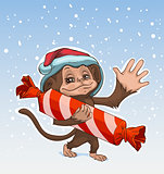 Monkey symbol 2016. Monkey has great candy. Monkey in Santa hats Greeting