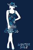 Winter sale illustration with woman silhouette in snowflakes dre