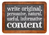 write original, useful, informative conctent